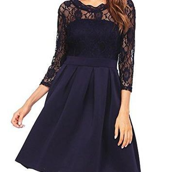 Zeagoo Women's Lace Vintage Hollow out 3/4 Sleeve Pleated Cocktail Party Dress