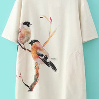 Bird Print Short Sleeve Shift Mini Dress with Buttons Pocket