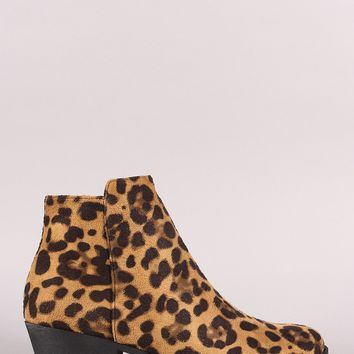Plain Side Zip-Up Booties Leopard Suede & Other Multi Colors