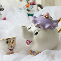 Cartoon Beauty And The Beast Teapot Mug Mrs Potts Chip Tea Pot Cup Set Porcelain Kettle 18K Gold-plated Painted Enamel Ceramic