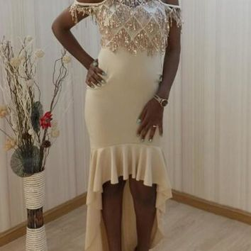 New Patchwork Sequin Tassel Cut Out High-low Sparkly Prom Evening Party Maxi Dress
