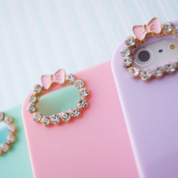 Iphone 4 4s Pastel Phone Case with Rhinestone Bow Camera Hole Outline