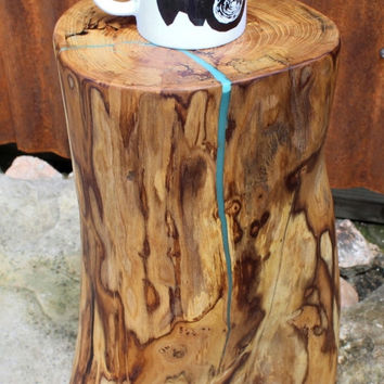 Stump Table, Glow in the Dark Resin, Reclaimed Wood Table, Rustic Side Table, Log Side Table, Rustic Furniture, Reclaim