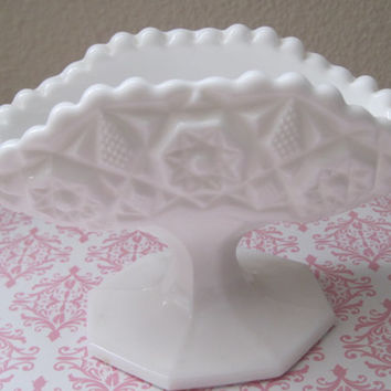 Vintage/White Milk Glass/ Pedestal Bowl/Ornate Pattern/1950's/Mid-Century/Trinket Holder/Sugar/Houseware/Serving/Home DecorPacket Holder
