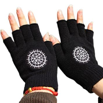 Cool Attack on Titan 2017 Fashion Gloves Anime One Piece Naruto  Black Butler Half Finger Plush Knit Glove Winter Warm Mitten Cosplay AT_90_11