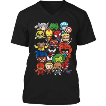Marvel Heroes And Villains Team Kawaii Graphic  Mens Printed V-Neck T
