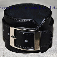 Cool  Real Leather Bracelet, Women Leather Cuff Bracelet, Men Leather Bracelet Cuff  CP74