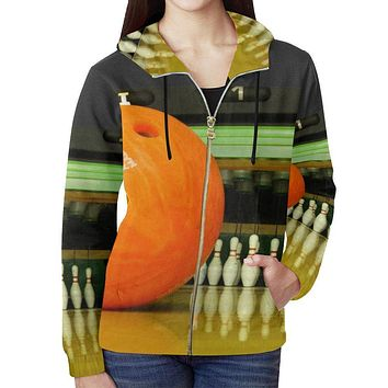 Bowling Design 2 Women's All Over Print Full Zip Hoodie