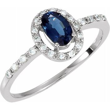 14K White Gold Oval Blue Sapphire & 1/6 CTW Diamond Halo Ring