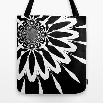 Handmade Tote Bag, Black & White Modern Flower Bag, Black and White Bag, Tote Bag, Floral Tote Bag, Modern Flower Series