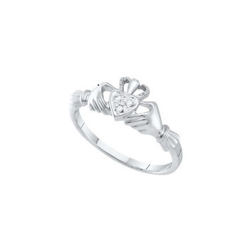 10kt White Gold Womens Round Diamond Dainty Claddagh Heart Ring .01 Cttw