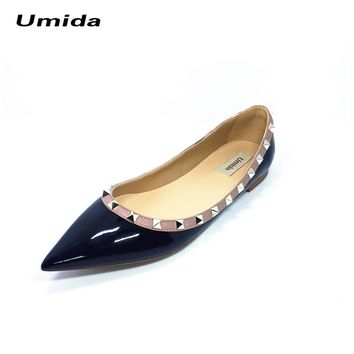Umida Brand Women Shoes Rivet Flats Shoes Women Genuine Leather Shoes Ankle Strap Poin