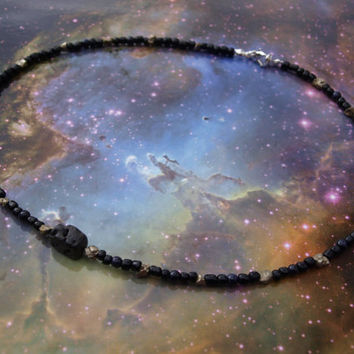 Meteor Tektite Space Necklace - Pyrite & Glass (luck/healing/energy)