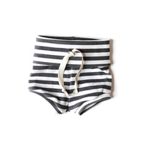 Organic Baby Shorts Black Stripes