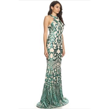 Mesh maxi dress in a mermaid silhouette