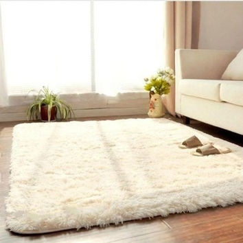 Living Dining Bedroom Plush Rugs Retangle Anti-skid Carpet Beige = 1931435396