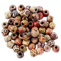 100pcs/Set Wood Painting Beads DIY Arts And Crafts Supplies Material DIY Necklace Wrist Wooden Painted Bead