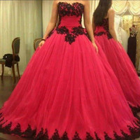 2016 new arrival ball gown lace appliques tulle prom dress princess puffy formal prom gowns floor length plus size prom dresses
