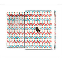 The Vintage Red & Blue Chevron Pattern Full Body Skin Set for the Apple iPad Mini 3