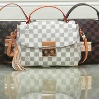 """""""Louis Vuitton"""" Simple Fashion All-match Quilted Metal Chain Single Shoulder Messenger Bag"""