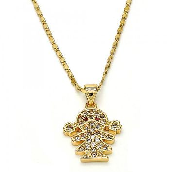 Gold Layered Fancy Necklace, Little Girl Design, with Cubic Zirconia, Golden Tone