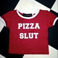 SWEET LORD O'MIGHTY! PIZZA SLUT RINGER TEE