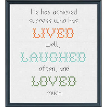 Cross Stitch Pattern - He Has Achieved Success, Live Laugh Love, Bessie Stanley, Inspirational Quote, DIY Cross Stitch, INSTANT DOWNLOAD