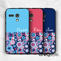 Personalised custom case - Moto G Moto X Sony Xperia Z Xperia Z1 name initial plastic cover case, custom made floral pattern case, E95