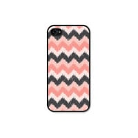 Ikat Chevron iPhone 4 Case - Plastic iPhone 4 Cover -  iPhone 4 Skin - Pink Grey Peach Coral Pastel