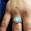 6mm Sterling Silver Round White Opal ring W/ Clear Cz Accents