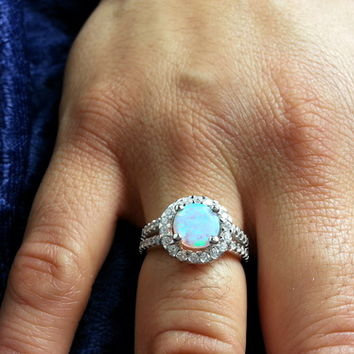 6mm Sterling Silver Round White Lab Opal ring W/ Clear Cz Accents