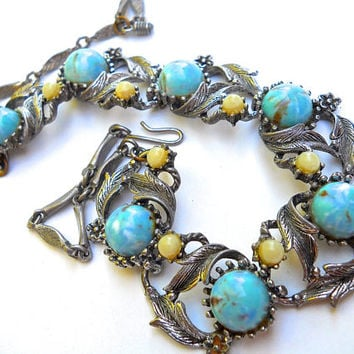 Turquoise Art Glass Floral Necklace, Art Nouveau, Faux Pearls, Vintage