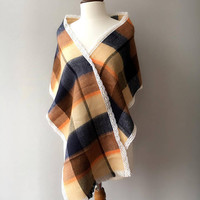 xmas gift, Plaid Scarf, Winter scarf, scarf with lace, Tartan scarf, gift for her, gift for mom