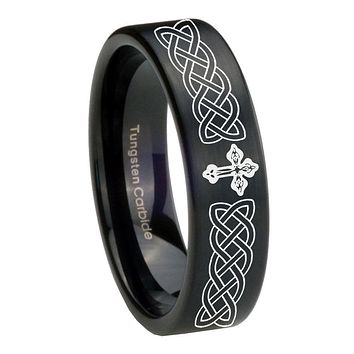 8mm Celtic Cross Pipe Cut Brush Black Tungsten Carbide Bands Ring