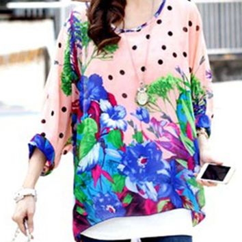 Streetstyle  Casual Round Neck Floral Polka Dot Batwing Sleeve Tunic