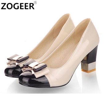 Plus size 34-43 Hot 2017 Candy Color Women Pumps Shallow Color Block Thick High Heels Shoes Bowtie Pink Working Shoes Woman