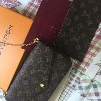 DCCK Louis Vuitton Pochette Felicie Monogram Wallet Authentic
