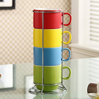 OliaDesign 4 Piece Stackable Porcelain Coffee/Tea Cup Set with Metal Stand, Multicolored