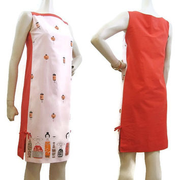 Vintage Shaheen 60s Dress Border Print Novelty Print Kokeshi Doll Lanterns MOD Asian Shift S
