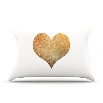 "Suzanne Carter ""Gold Heart"" Glam Pillow Sham"