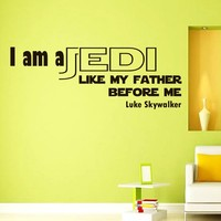 Wall Vinyl Decal Quote Sticker Home Decor Art Mural I am a Jedi, like my father before me Star Wars Luke Z305