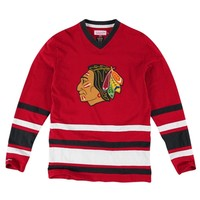 Mens Chicago Blackhawks Mitchell & Ness Red 1st Period Long Sleeve T-Shirt