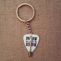 Follow your arrow guitar pick keychain with silver arrow charm - Gorgeous and Unique!