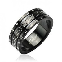 316L Surgical Stainless Steel Rings/ IP Black/Dia Cut - Size:12