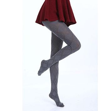 Hot Spring Autumn Tights 280 Denier Not Opaque Plaid Pattern Jacquard Velvet Pantyhose, Sexy and High Elasticity,