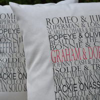 Valentine gift idea, couples Personalized pillow COVER ,Famous couples pillow, typography wedding pillow, valentine gift idea, 2