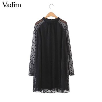 women Polka Dot sexy mesh black pleated dress long sleeve oversized back buttons loose mini vestidos QZ2797