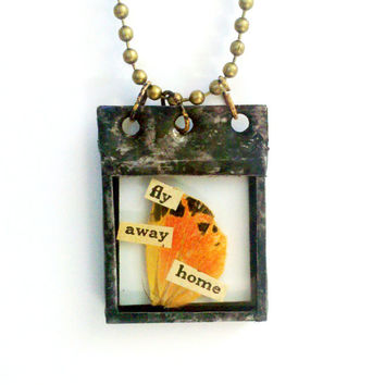 Moth Wings Necklace Fly Away Home Necklace Soldered Specimen Pendant Orange Wing Necklace Collage Art Jewelry Moth Charm