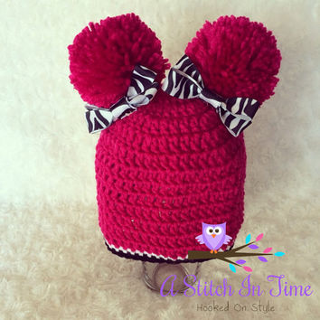 Pink pompom beanie with zebra print bows Crochet Beanie/Hat Photo Prop for Newborn-adult Size