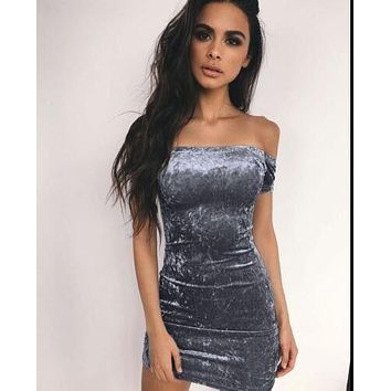 Gray Strapless Hip Dress